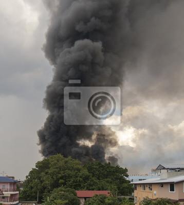 Spalanie Ogień / spalanie ognia i czarnego dymu nad fabryki gumy za wielkiego drzewa.
