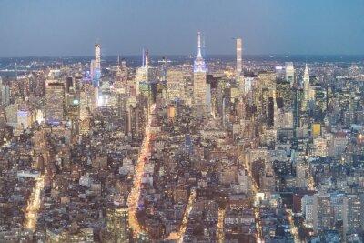 Spectacular aerial view of Manhattan skyline on a beautiful nigh