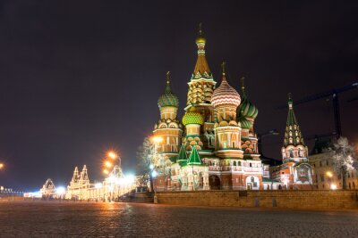 Obraz Spectacular view of St. Basil's Cathedral at night, Moscow