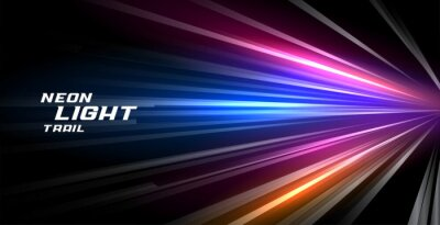 Obraz speed trail neon light lines motion background