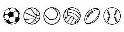 Obraz Sport balls set. Ball icons. Balls for Football, Soccer, Basketball, Tennis, Baseball, Volleyball. Vector illustration