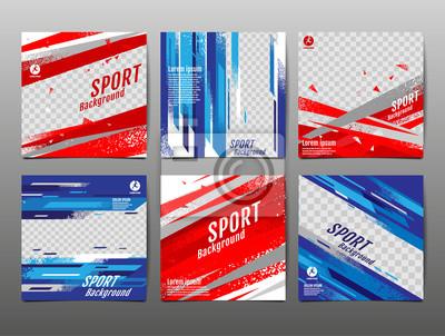 Obraz Sport Banner Social Media, Abstract Background, Vector Illustration, Dynamic, grunge Texture.