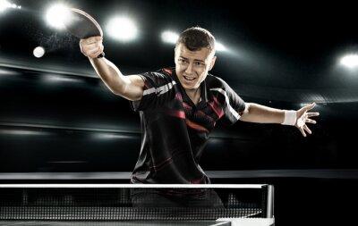 Obraz sport człowiek tenisista na czarnym tle