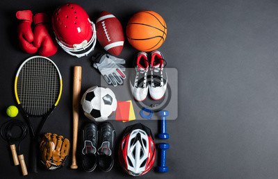 Obraz Sport Equipment On Black Background