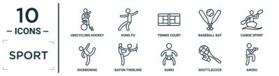 Obraz sport linear icon set. includes thin line unicycling hockey, tennis court, canoe sport, baton twirling, shuttlecock, aikido, kickboxing icons for report, presentation, diagram, web design