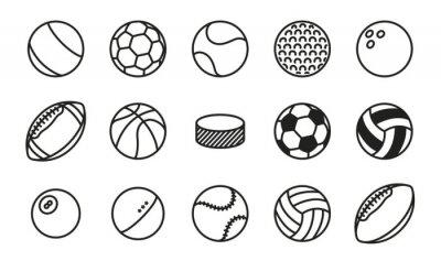 Obraz Sportowe Piłki Minimalny Linia Linii Wektorowych Ikonę Zestawu. Piłka nożna, piłka nożna, tenis, golf, kręgielnia, koszykówka, hokej, siatkówka, rugby, basen, baseball, ping pong