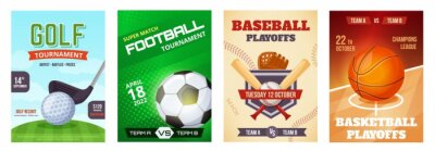Obraz Sports game tournament poster, basketball playoff announcement flyer. Golf, football, baseball sport advertising posters vector template set. Championship advertisement banners or brochures