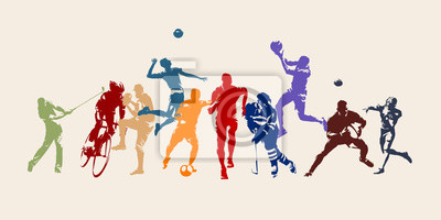 Obraz Sports, set of athletes of various sports disciplines. Isolated vector silhouettes. Run, soccer, hockey, volleyball, basketball, rugby, baseball, american football, cycling, golf