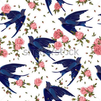 Obraz spring birds illustration, seamless, pattern swallow, swallow seamless, swallow and flowers seamless