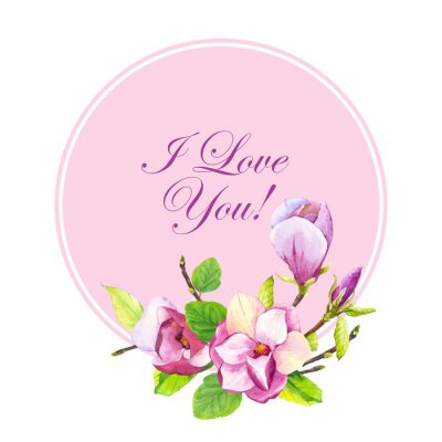 Spring frame with watercolor magnolia. Floral purple illustrations with realistic flowers on white background for your design and decor.