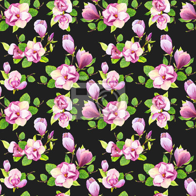 Spring seamless background with watercolor magnolia. Floral purple pattern with realistic flowers on black background for your design and decor.