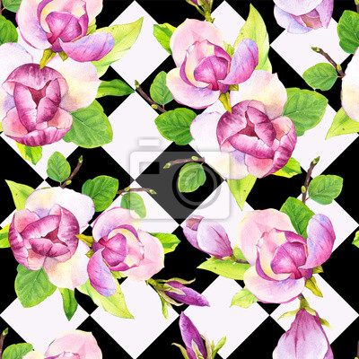 Spring seamless background with watercolor magnolia. Floral purple pattern with realistic flowers on geometric background for your design and decor.