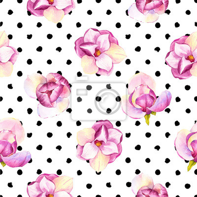 Spring seamless background with watercolor magnolia. Floral purple pattern with realistic flowers on polka dots background for your design and decor.