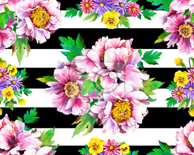 Spring seamless illustrations with purple watercolor peonies, pansies . Floral pattern with wild flowers on a striped black and white background for your design and decor.