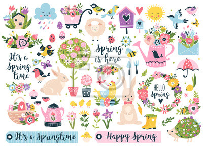 Obraz Spring set, hand drawn elements- flowers, birds, wreaths, quotes and other. Perfect for scrapbooking, greeting card, party invitation, poster, tag, sticker kit. Vector illustration.