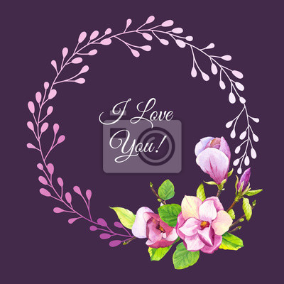 Spring wreath with watercolor magnolia. Floral purple illustrations with realistic flowers on dark background for your design and decor.