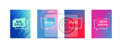 Obraz Sprzedam szablon banerów internetowych do oferty specjalnej reklamy. Płynne kolory w różnych formach. Nowości w sklepie internetowym promo. Nowo przybyłe banery internetowe.