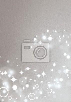 Srebrny tło z efektami świetlnymi koła i gwiazd błyszczących