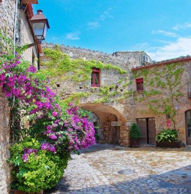Obraz Średniowieczne miasto Peratallada, Katalonia, Hiszpania