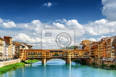Obraz Średniowieczny most Ponte Vecchio i rzeki Arno, Florencja