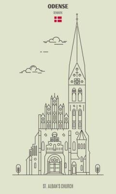 St. Alban's Church in Odense, Denmark. Landmark icon