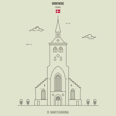 St. Canute's Cathedral in Odense, Denmark. Landmark icon