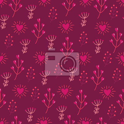 St. Valentine's Day seamless pattern with branches, hearts, berries, herbs