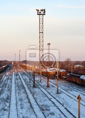 Stacja kolejowa w zimie