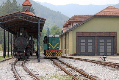 Obraz Stacja kolejowa ze starych pociągów