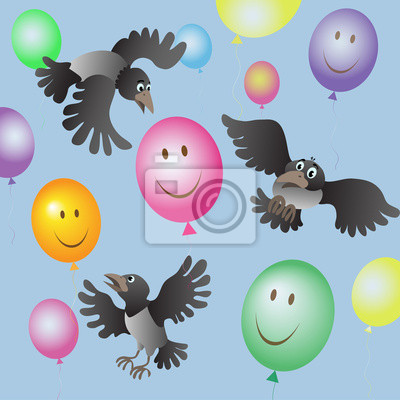 Stado wron i kolorowych balonów