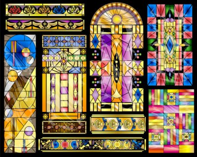 Obraz Stained Glass Abstract Vintage and Modern Designs Collection