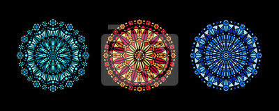 Obraz Stained glass illustration collection, circle shape pattern, rose window mandala ornament, tracery. Round frames set, radial floral motive design element. Colorful mosaic decoration, background