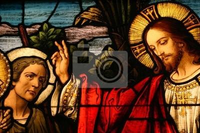 Obraz Stained glass pokaz człowiek Jezus błogosławieństwem