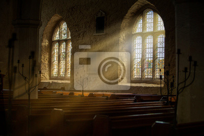 Obraz Stained glass windows with sun rays pouring in