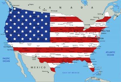 Obraz Stany Zjednoczone bardzo szczegółowe mapy polityczne z flag narodowych.