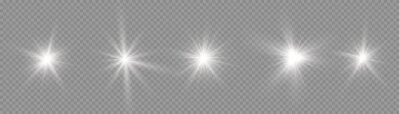 Obraz Star burst with light, white sun rays.
