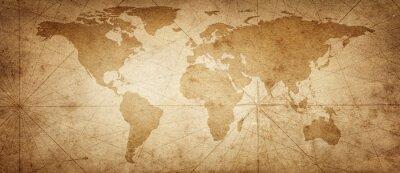 Obraz Stara mapa świata na starym tle pergaminu. Zabytkowy styl. Elementy tego obrazu dostarczone przez NASA.