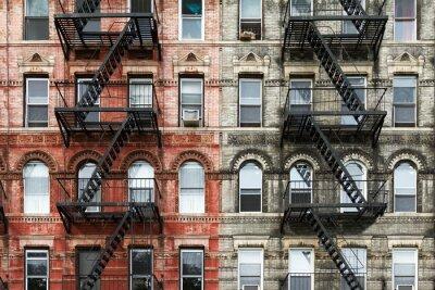 Obraz Stare ceglane budynki mieszkanie na Manhattanie w Nowym Jorku