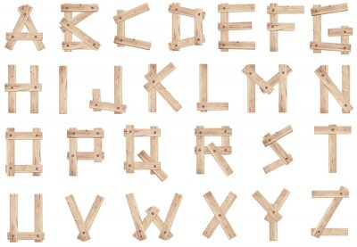 Obraz Stare drewniane litery alfabetu wykonane z drewnianych desek