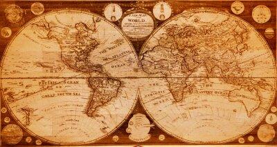 Obraz stare drewniane mapa północnej i południowej półkuli Ziemi