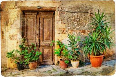 Stare drzwi greckie obrazkowe