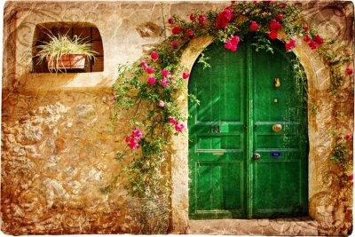 stare greckie drzwi - obraz w stylu retro