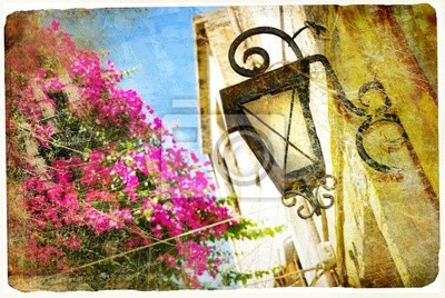 stare greckie ulice - obraz w stylu retro