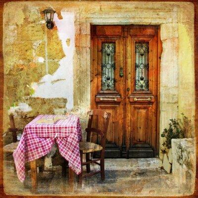 stare greckie uliczki z małymi tawernami