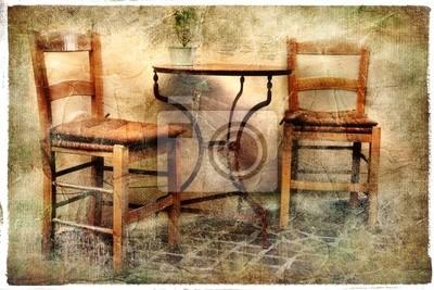 Stare krzesła - tawerny Grecji, artystyczny obraz retro