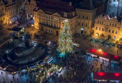 Obraz Stare Miasto (Staromestska), Praga, Republika Czeska, grudzień