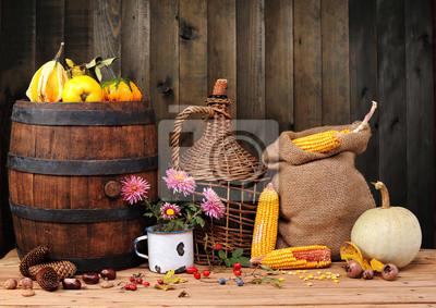 Obraz Stare rzeczy, owoce i warzywa