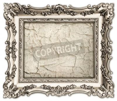 Obraz stare srebro ramki z pustym płótnie grunge dla obraz, fotografia, obraz pięknego rocznika tle