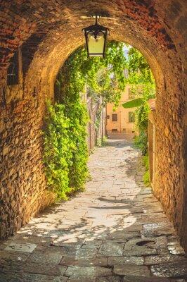 Obraz Stare uliczki średniowiecznego miasta Toskanii zieleni.