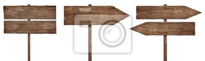 Obraz stare wyblakłe znaki drewna, strzały i drogowskazy